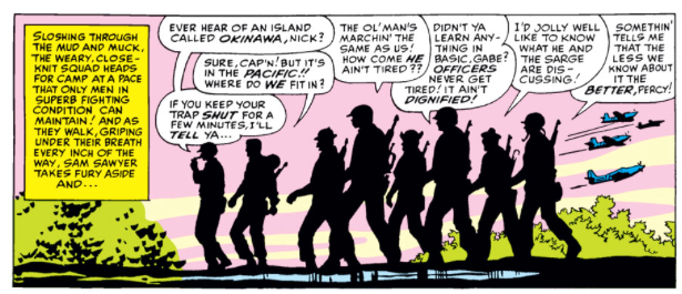 The Howling Commandos Marching in Sgt Fury And His Howling Commandos issue 10