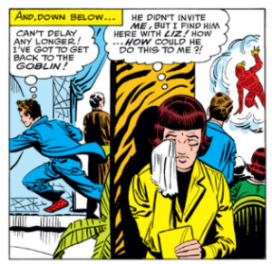 Betty Brant upset over seeing Peter Parker with LIz Allan