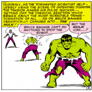 Bruce Banner Transforms into the Hulk TtA 61 1964