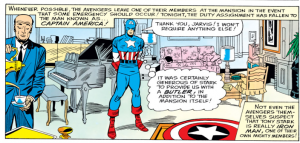 Capt America with Jarvis in Avengers Mansion Tos-59