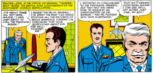 General Thunderbolt Ross Meets Major Glenn Talbot and they discuss the investigation of Bruce Banner