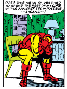 Iron Man sitting in a chair thinking