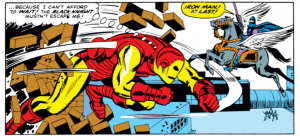 Iron man burst onto the scene to fight The Black Knight