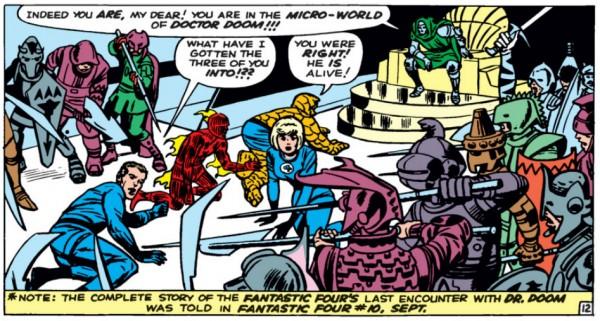 captured fantastic four in doctor dooms micro-world