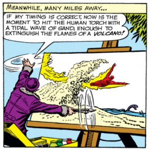 the painter paints the human torch