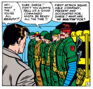 The Howling Commandos line up before Sgt Fury