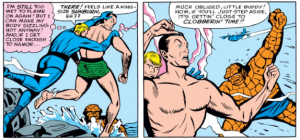 Thing and Human Torch Fight Namor